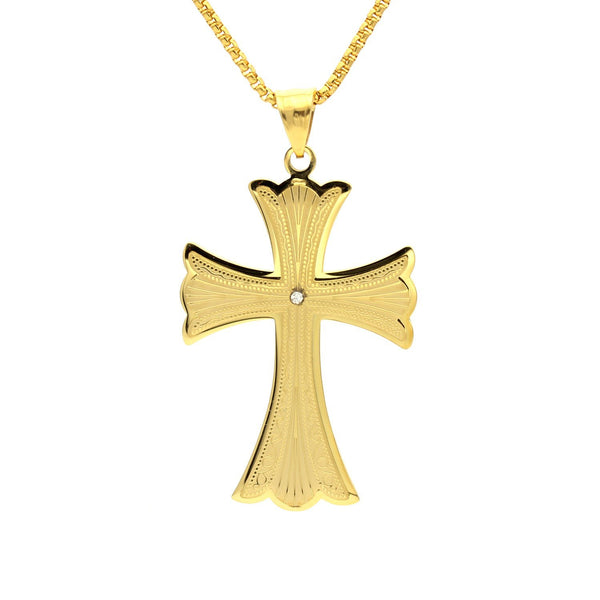 Stainless Steel CZ & Filigree Design Cross Pendant