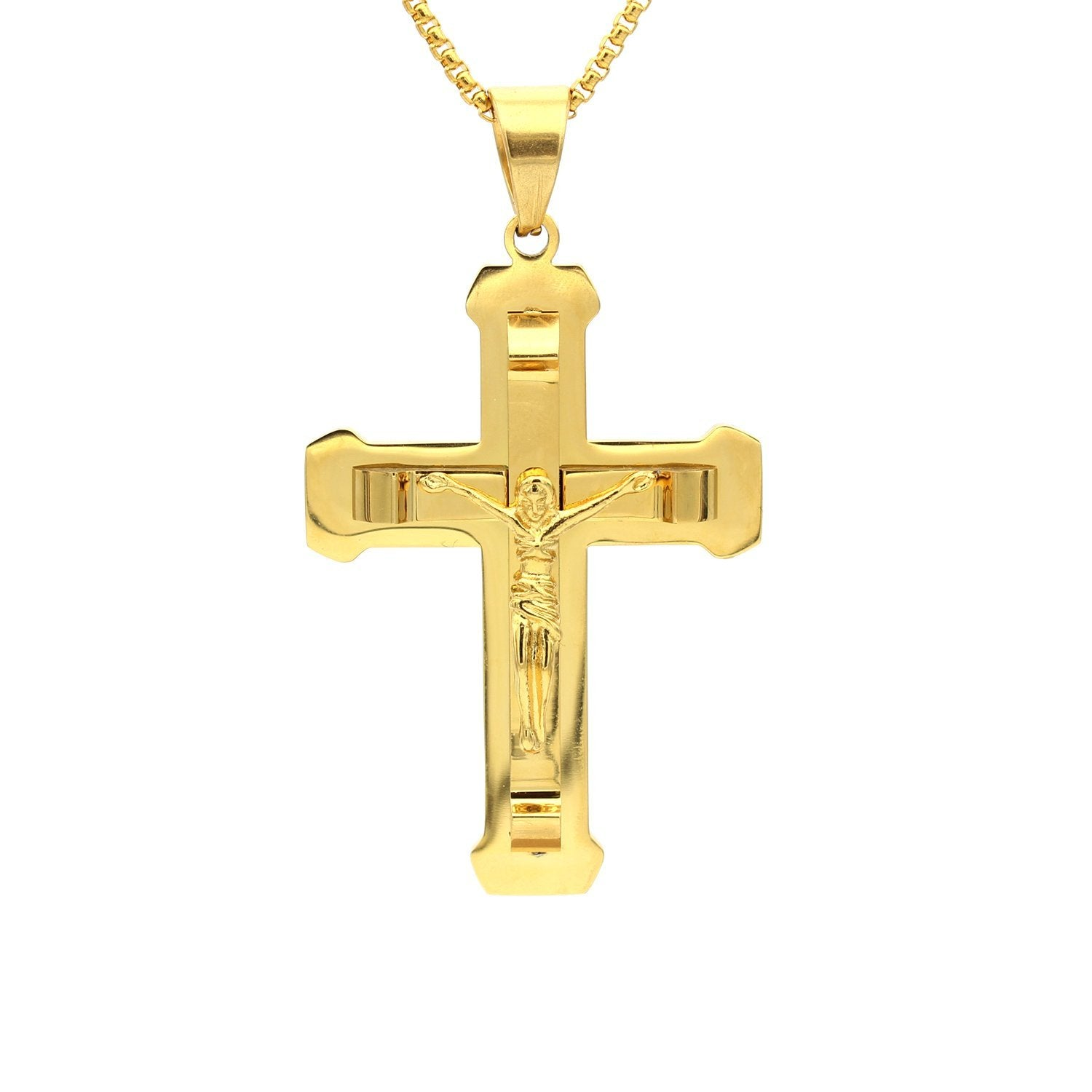 Stainless Steel Double-Layer Crucifix Pendant