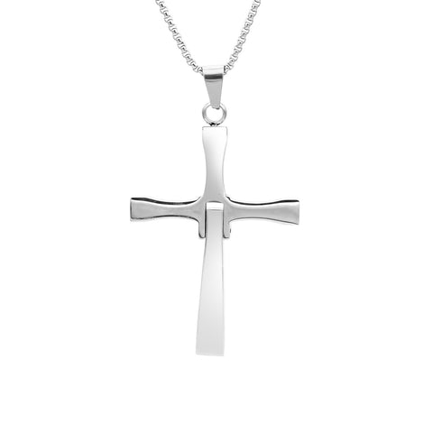 Stainless Steel Cubic Zirconia Hinged Cross Pendant