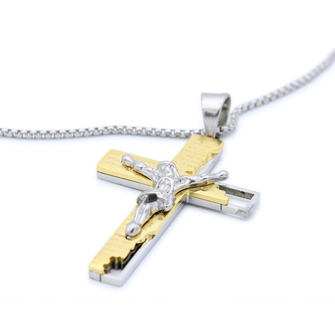 Stainless Steel Broken Tablet Crucifix Pendant