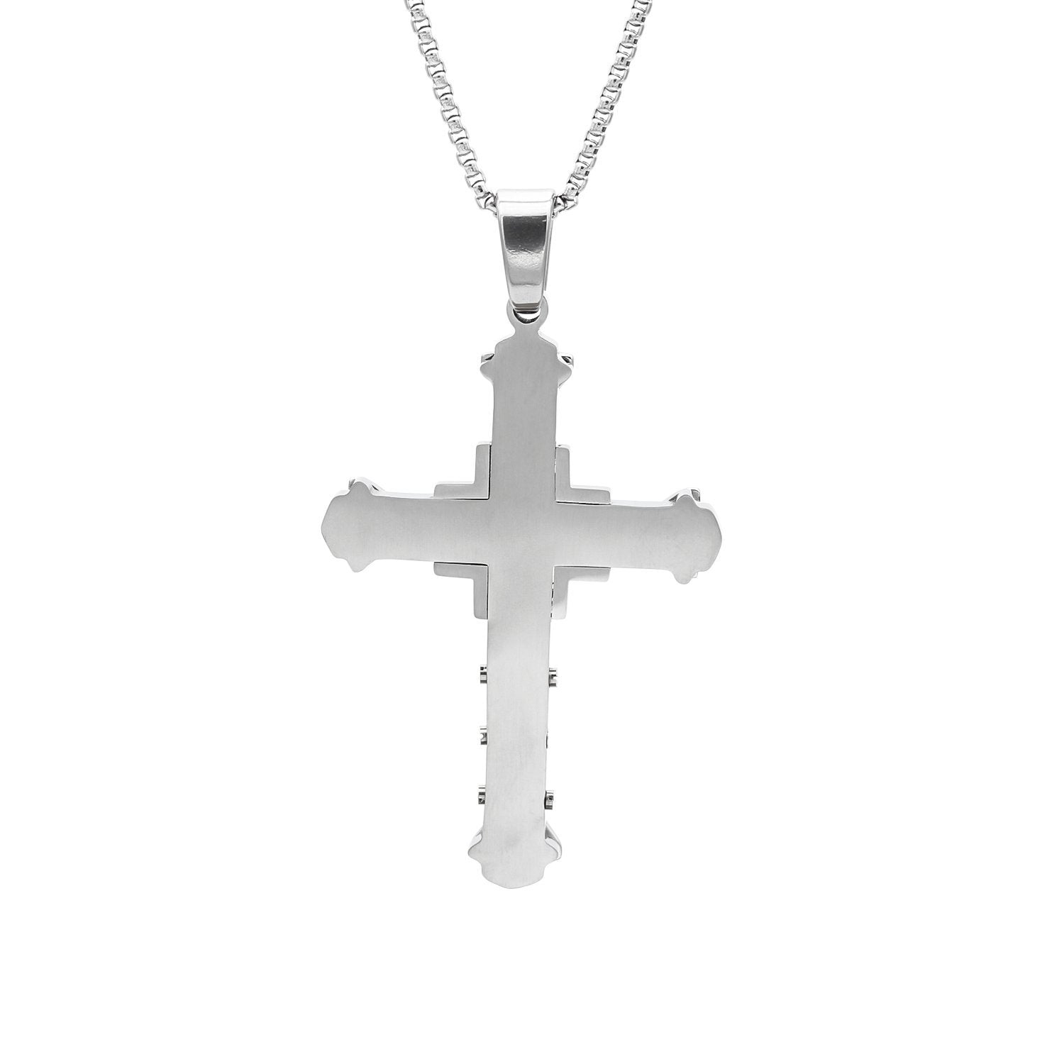 Stainless Steel Cubic Zirconia Cross Design Pendant