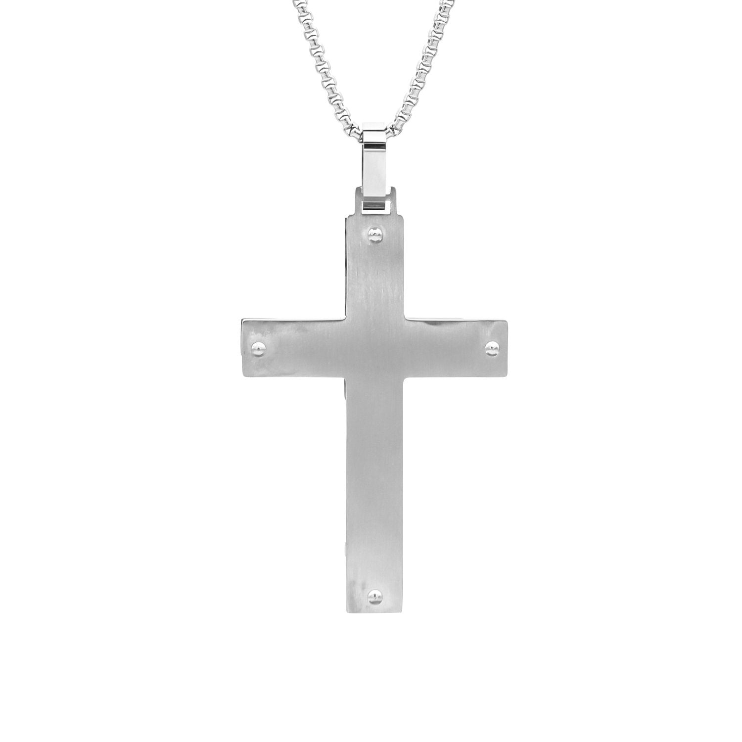 Stainless Steel Puzzle Pattern Design Cross Pendant