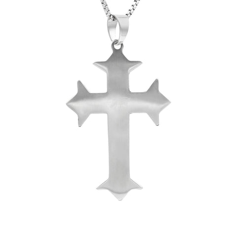 Stainless Steel Triple-Layer CZ Cross Pendant