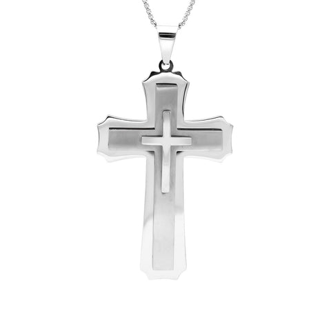 Stainless Steel Triple-Layer Cross Pendant