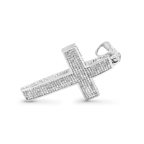 Stainless Steel CZ Covered Cross Pendant