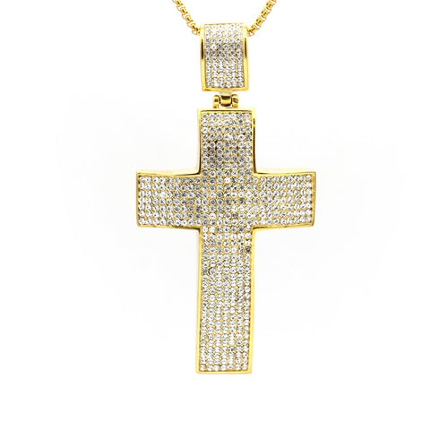 Stainless Steel Cubic Zirconia Cross Pendant