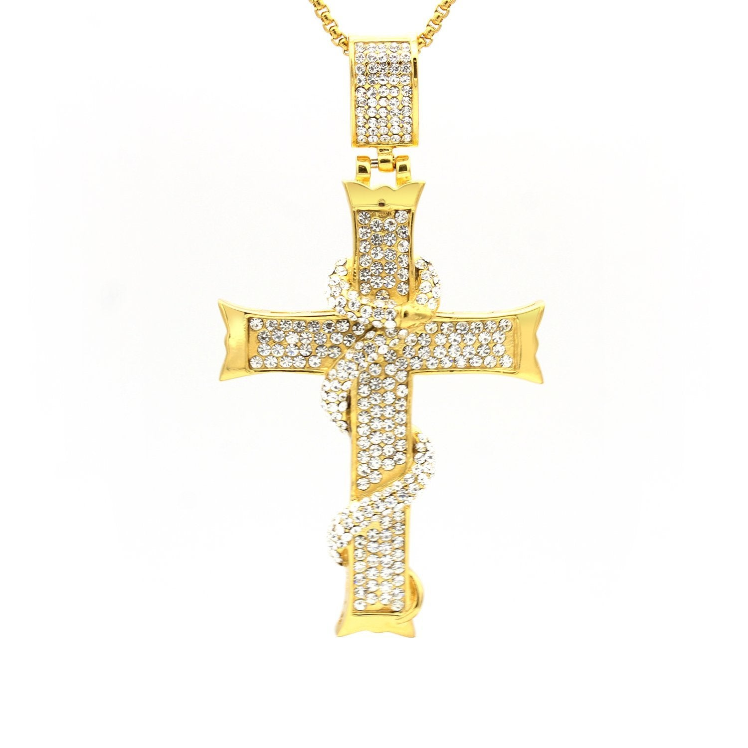 Stainless Steel Cubic Zirconia Snake & Cross Pendant