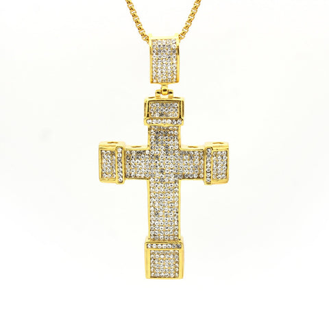 Stainless Steel Cubic Zirconia Inlaid Design Cross Pendant
