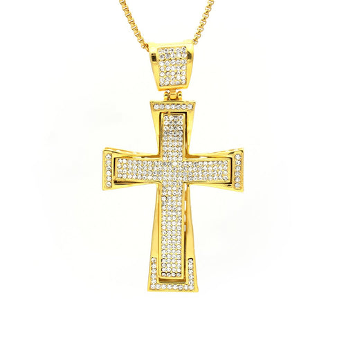 Stainless Steel CZ Intricate Design Cross Pendant