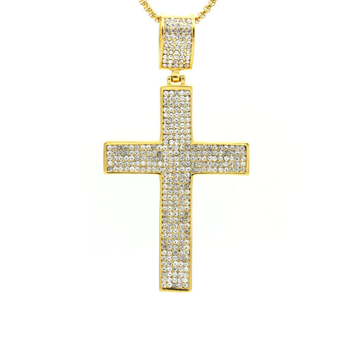 Stainless Steel Cubic Zirconia Simple Design Cross Pendant