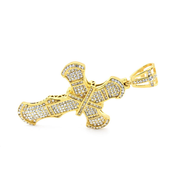 Stainless Steel Embellished CZ Design Cross Pendant