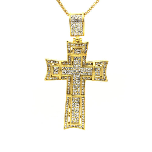 Stainless Steel Ornate Cubic Zirconia Design Cross Pendant