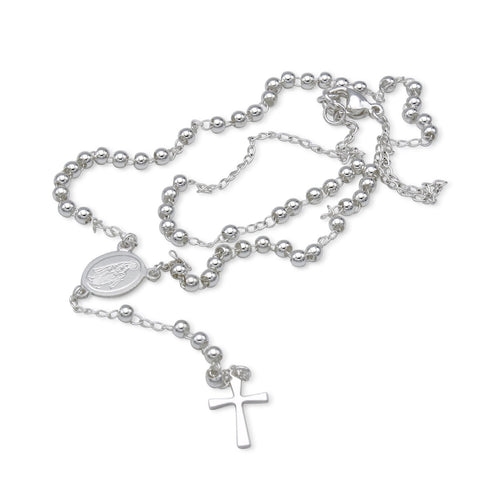 Traditional Rosary Necklace Five Decade Stainless Steel Catholic Prayer Beads (Silver) 3mm
