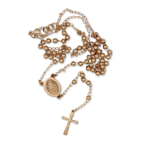 Traditional Rosary Necklace Five Decade Stainless Steel Catholic Prayer Beads (Rose Gold) 3mm