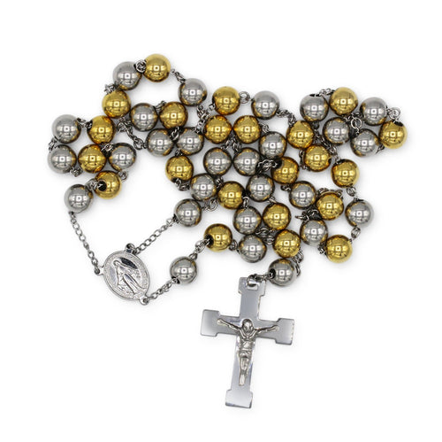 Traditional Rosary Necklace Five Decade Stainless Steel Catholic Prayer Beads (Silver/ Gold) 10mm