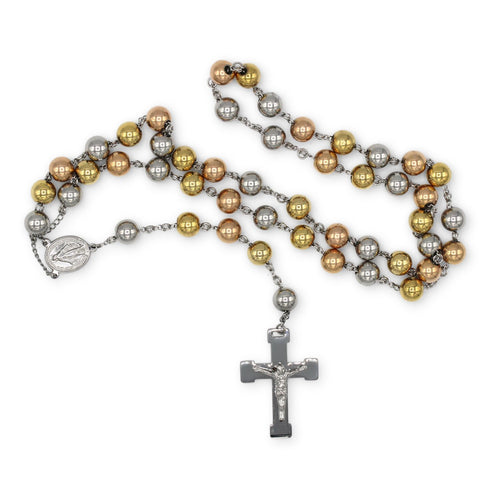 Traditional Rosary Necklace Five Decade Stainless Steel Catholic Prayer Beads (Silver/Gold/Rose Gold) 10mm
