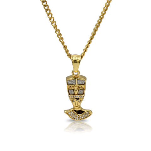 Iced Out Nefertiti Charm Necklace Stainless Steel Bling CZ