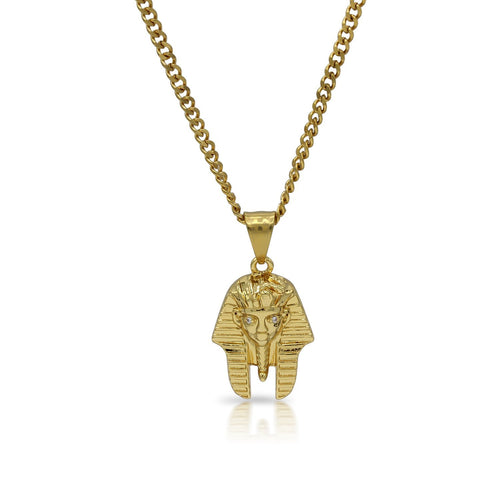 Iced Out King Tut Charm Necklace Stainless Steel Bling CZ