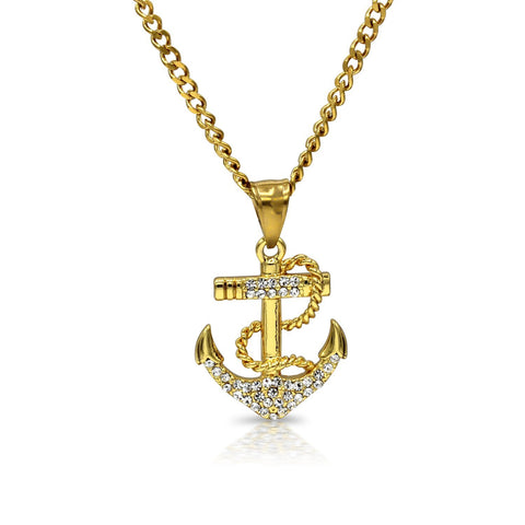 Iced Out Anchor Charm Necklace Stainless Steel Bling CZ