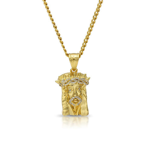 Iced Out Jesus Crown Charm Necklace Stainless Steel Bling CZ