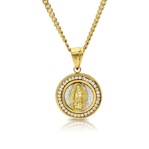 Iced Out Virgin Mary Circle Charm Necklace Stainless Steel Bling CZ