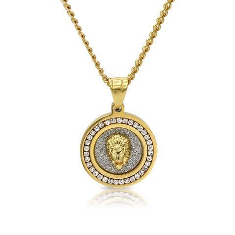 Iced Out Lion Circle Charm Necklace Stainless Steel Bling CZ