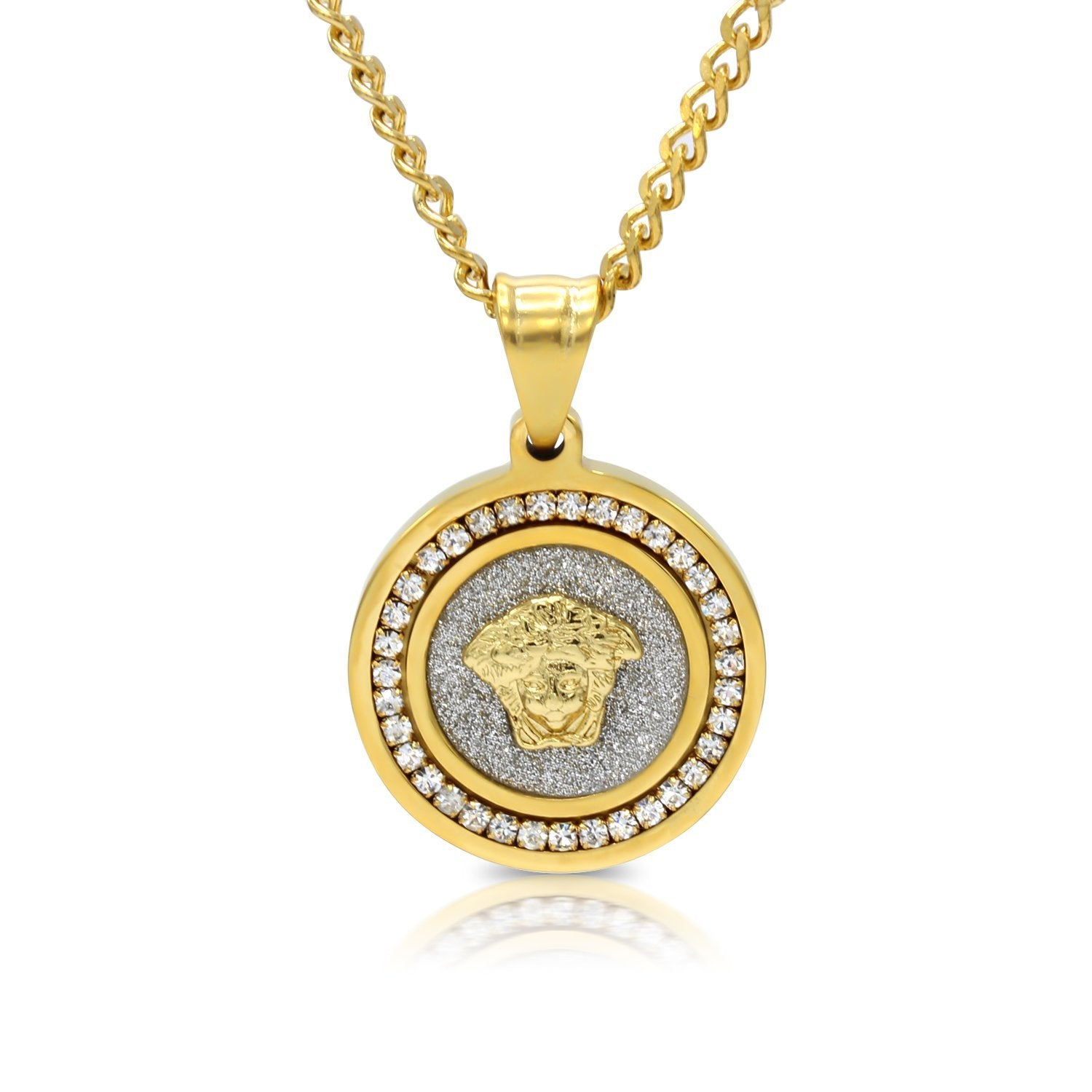 Iced Out Medusa Circle Charm Necklace Stainless Steel Bling CZ