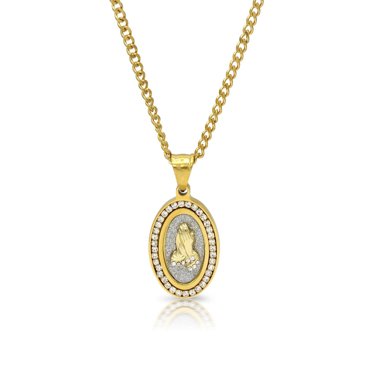 Iced Out Prayer Hands Oval Charm Necklace Stainless Steel Bling CZ
