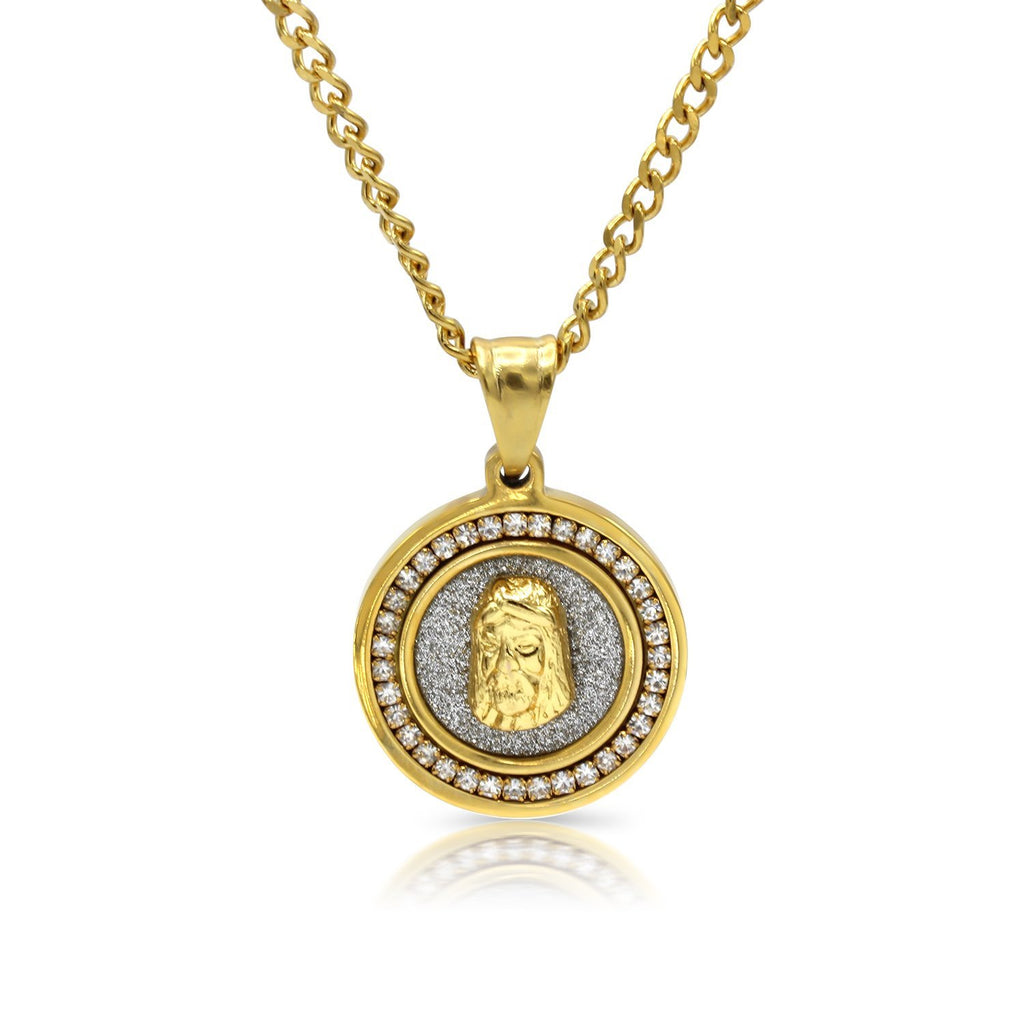 Iced Out Jesus Circle Charm Necklace Stainless Steel Bling CZ