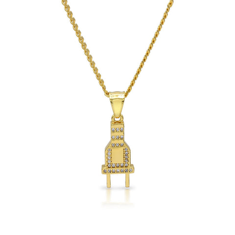 Iced Out Power Plug Charm Necklace Stainless Steel Bling CZ