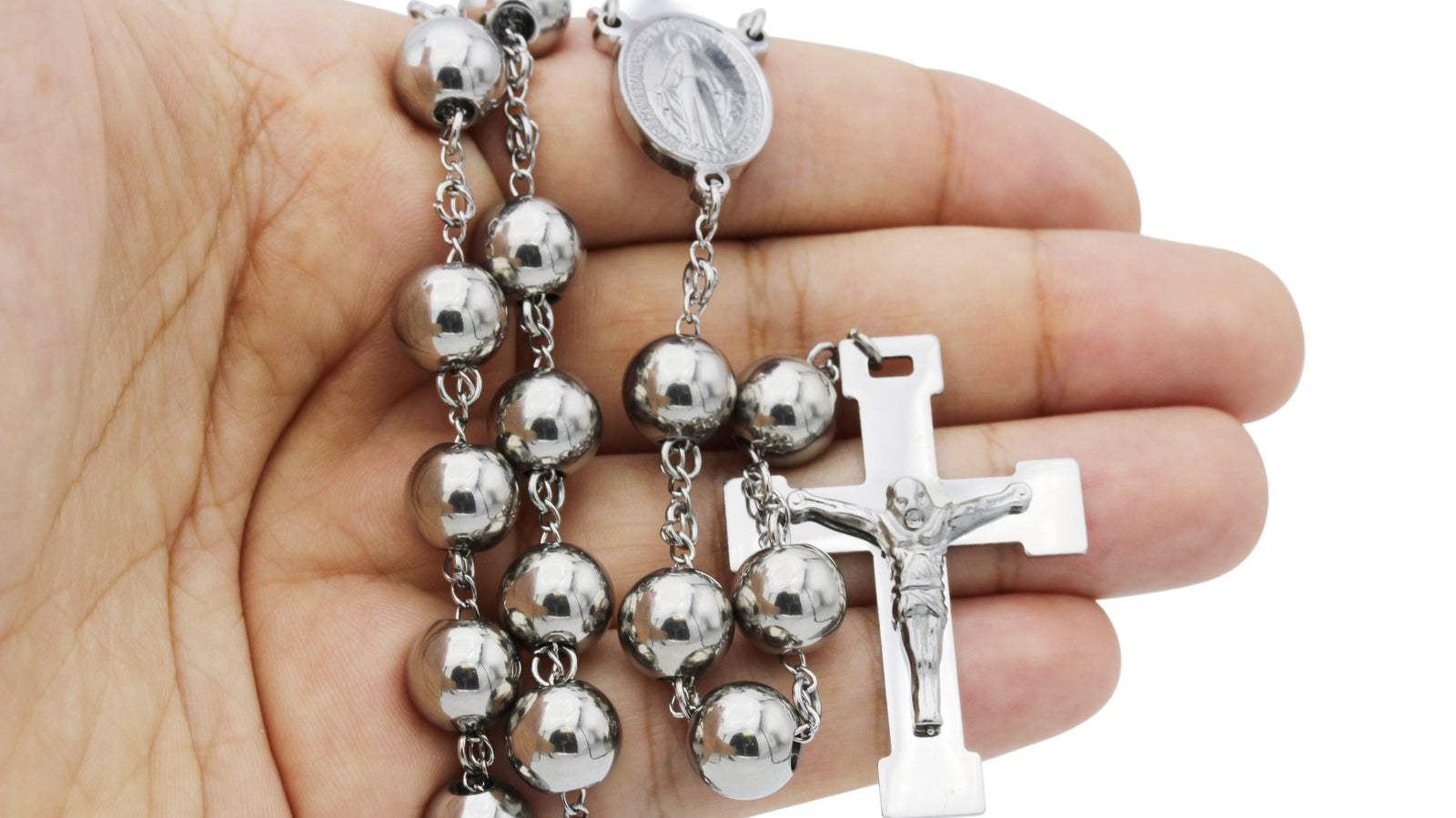 Traditional Rosary Necklace Five Decade Stainless Steel Catholic Prayer Beads (Silver) 10mm
