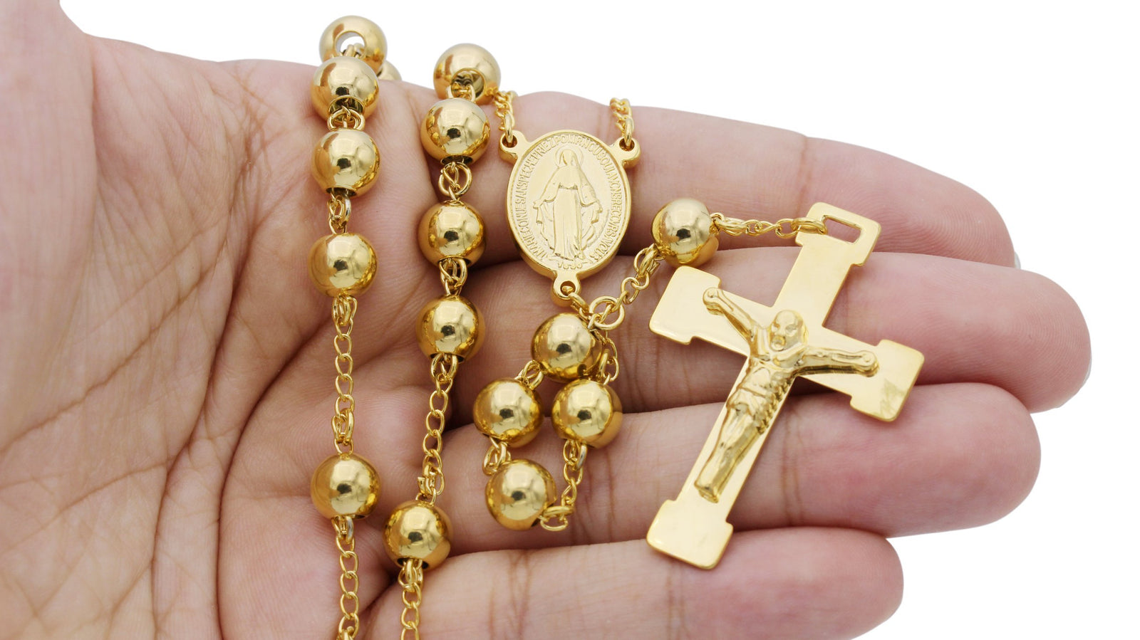 Traditional Rosary Necklace Five Decade Stainless Steel Catholic Prayer Beads (Gold) 8mm