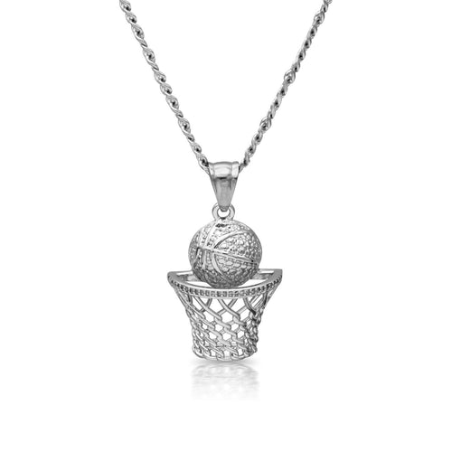 Iced Out Basketball Net Charm Necklace Stainless Steel Bling CZ
