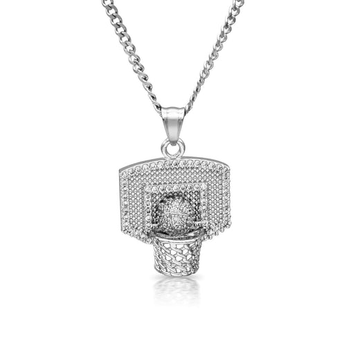 Iced Out Basketball Hoop Charm Necklace Stainless Steel Bling CZ