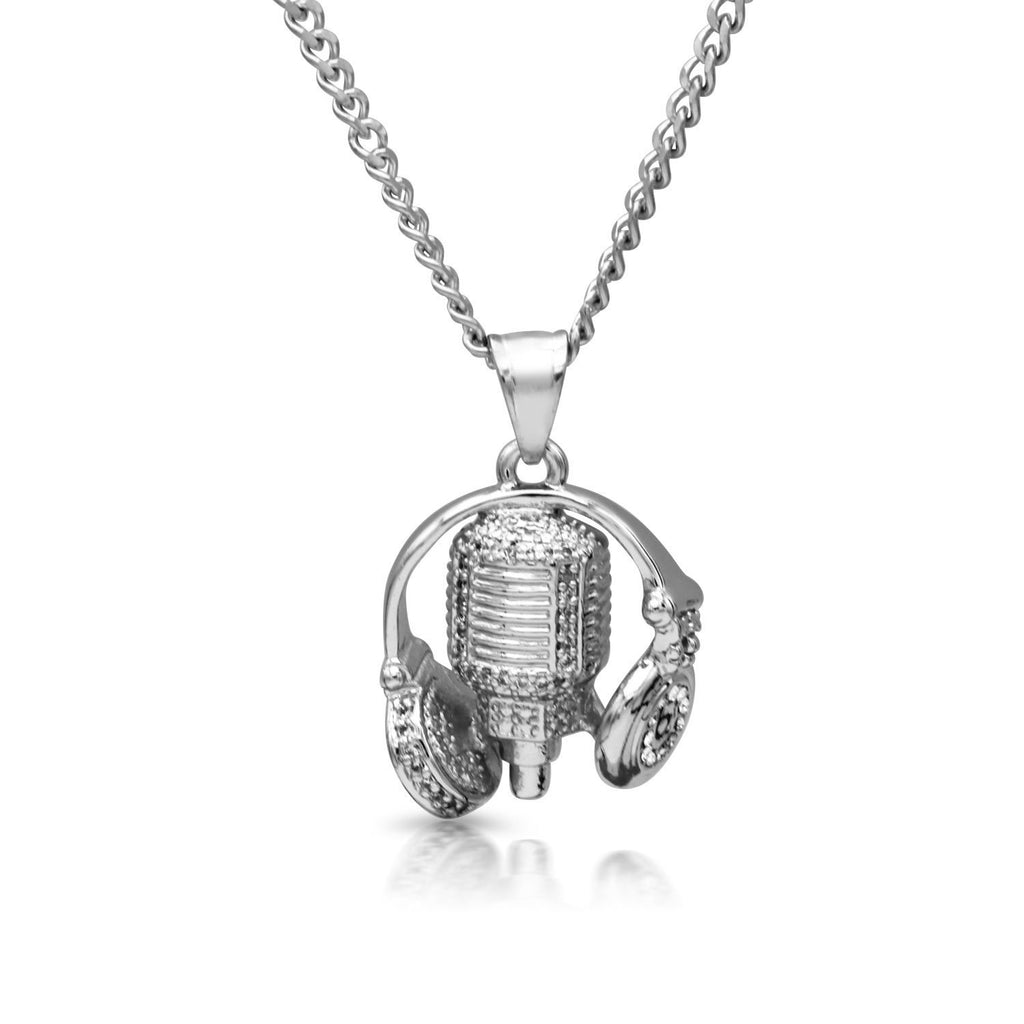 Iced Out DJ Headphones Charm Necklace Stainless Steel Bling CZ