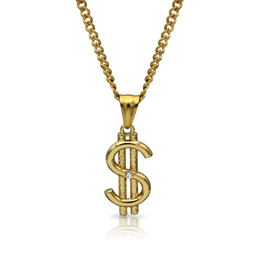 Dollar Sign Charm Necklace Stainless Steel Bling CZ