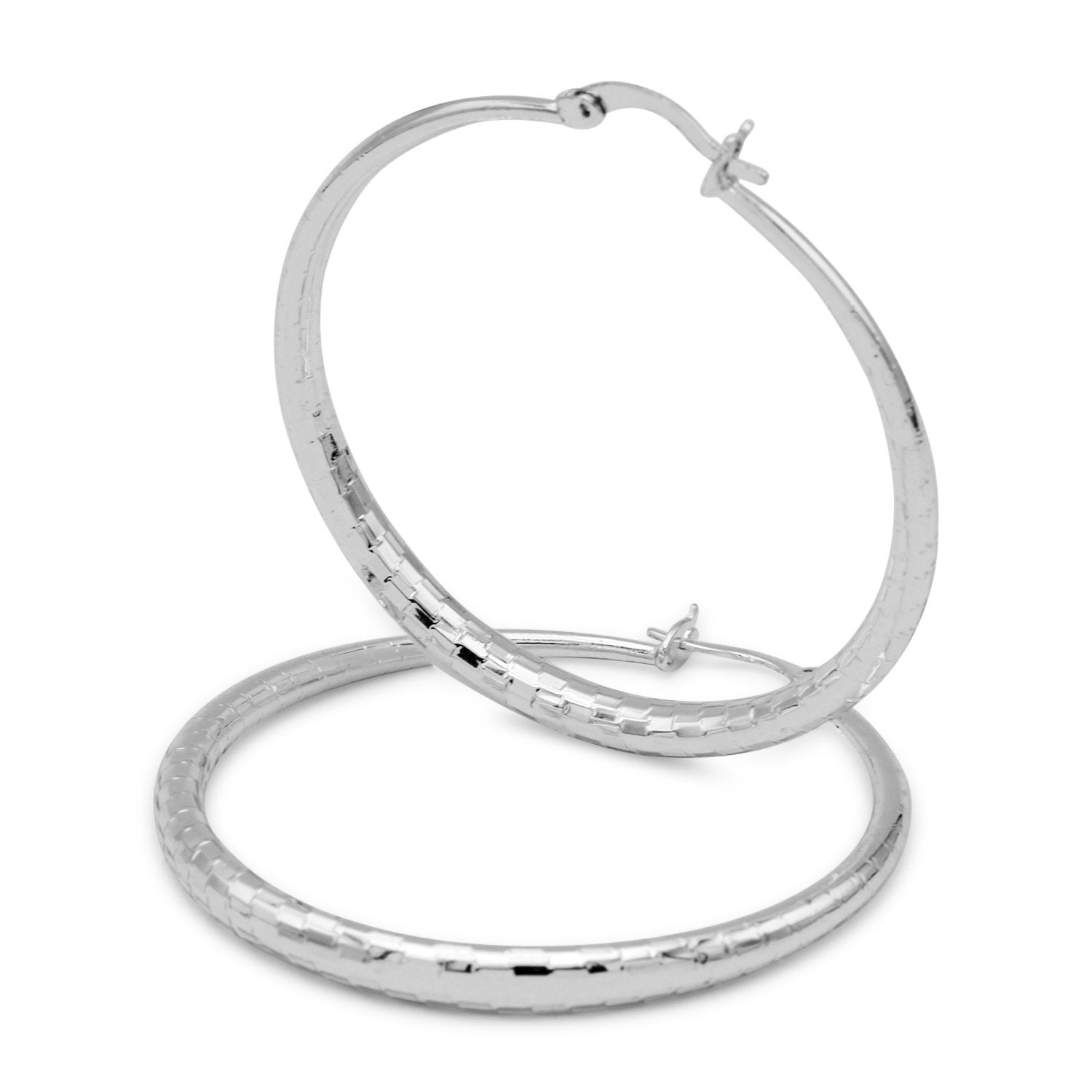 Fancy 14k White Gold Filled Hoop Earrings Fashion Jewelry 50mm