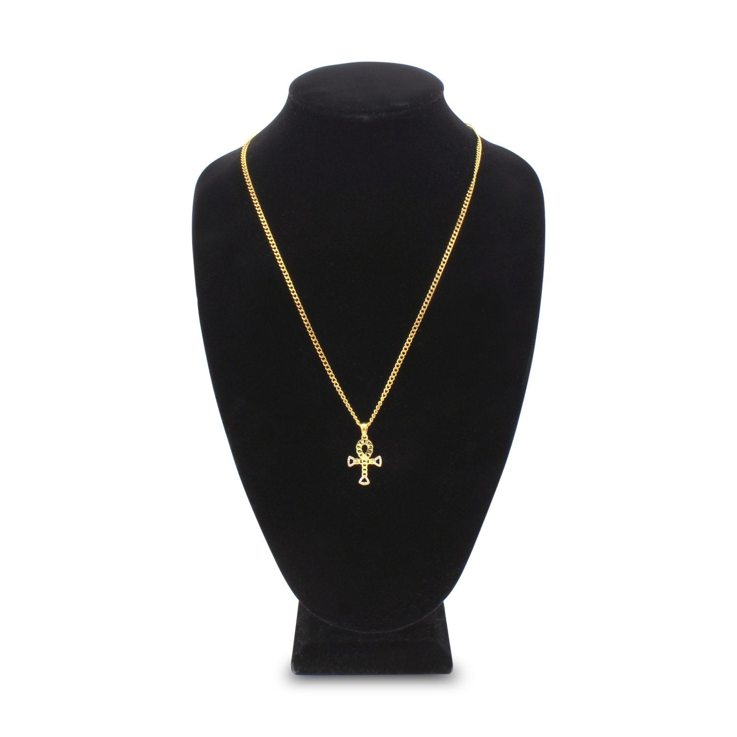 Iced Out Hollow Ankh Charm Necklace Stainless Steel Bling CZ