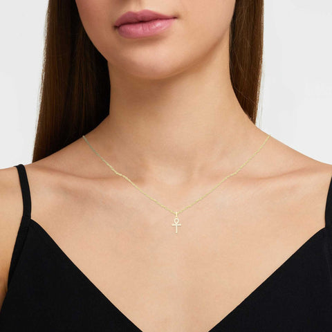 Ankh Cross Cubic Zirconia Pendant With Necklace Set 14K Gold Filled