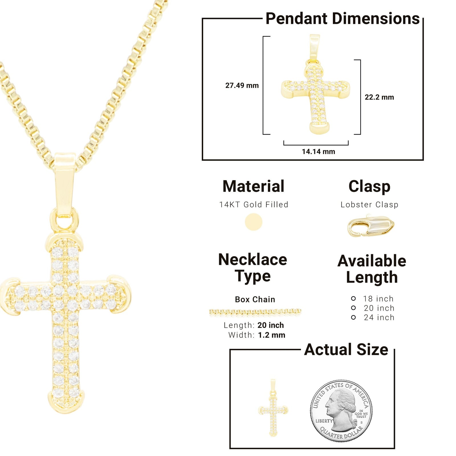 CZ Stone Accurate Cross Cubic Zirconia Pendant With Necklace Set 14K Gold Filled