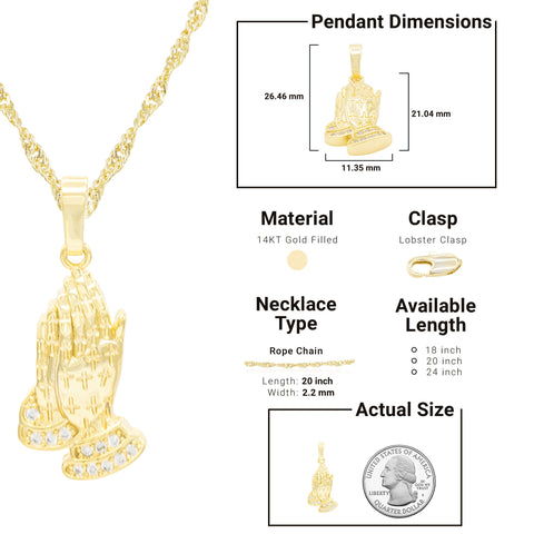 Praying Hands Cubic Zirconia Pendant With Necklace Set 14K Gold Filled