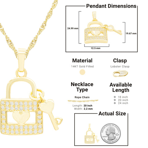 CZ Lock Key Heart Cubic Zirconia Pendant With Necklace Set 14K Gold Filled