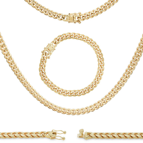 "Cuban Link Chain 14K Gold Plated Curb Necklace 30"" Bracelet 9.5"" Stainless Steel"