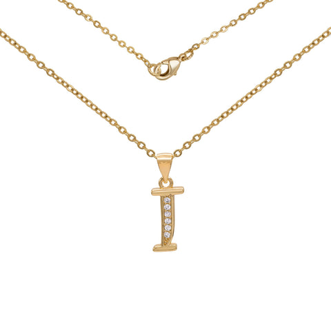 "Initial Letter Pendant With Cubic Zirconia 18K Gold Filled Alphabet CZ Charm Rolo Chain Set 18"" Necklace Women Girl Teen"