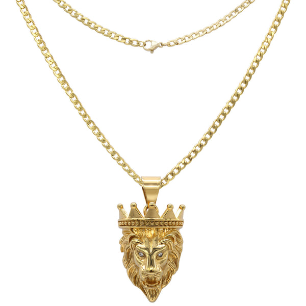 BEBERLINI Cuban Link Box Chain with Crowned Lion Cubic Zirconia Eyes Pendant Necklace Set 14K Gold Plated Stainless Steel Lobster Clasp Fashion Jewelry for Men