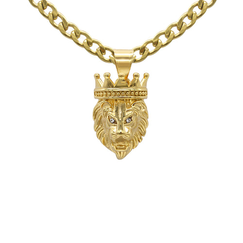 Lion Pendant Set Cubic Zirconia 14K Gold Plated Stainless Steel