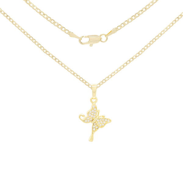 Hanging Butterfly Cubic Zirconia Pendant With Necklace Set 14K Gold Filled