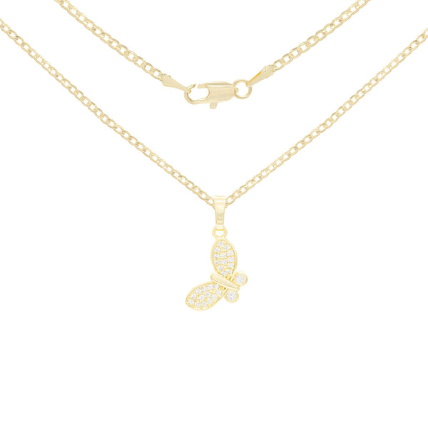Flying Butterfly Cubic Zirconia Pendant With Necklace Set 14K Gold Filled
