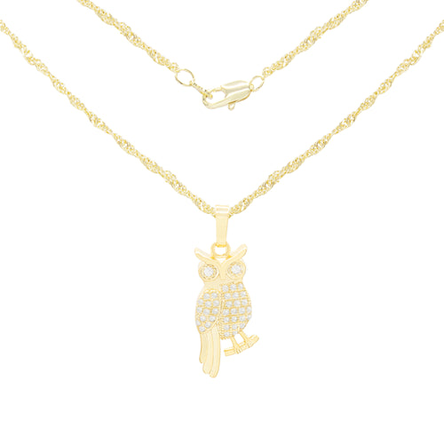 Smart Owl Cubic Zirconia Pendant With Necklace Set 14K Gold Filled