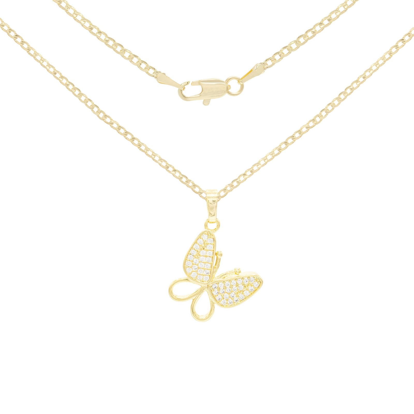 CZ Butterfly Cubic Zirconia Pendant With Necklace Set 14K Gold Filled